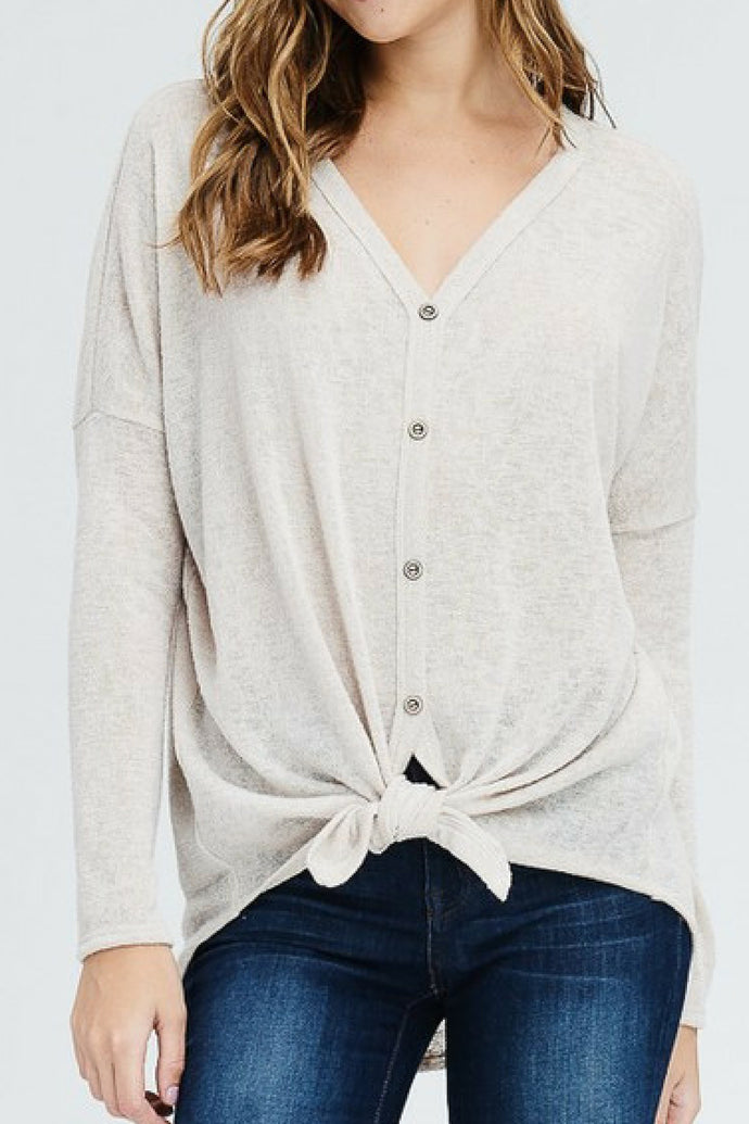 New York Minute Front Knot Button Down