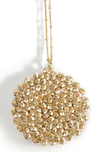 Center of Attention Beaded Necklace (Matte Gold)