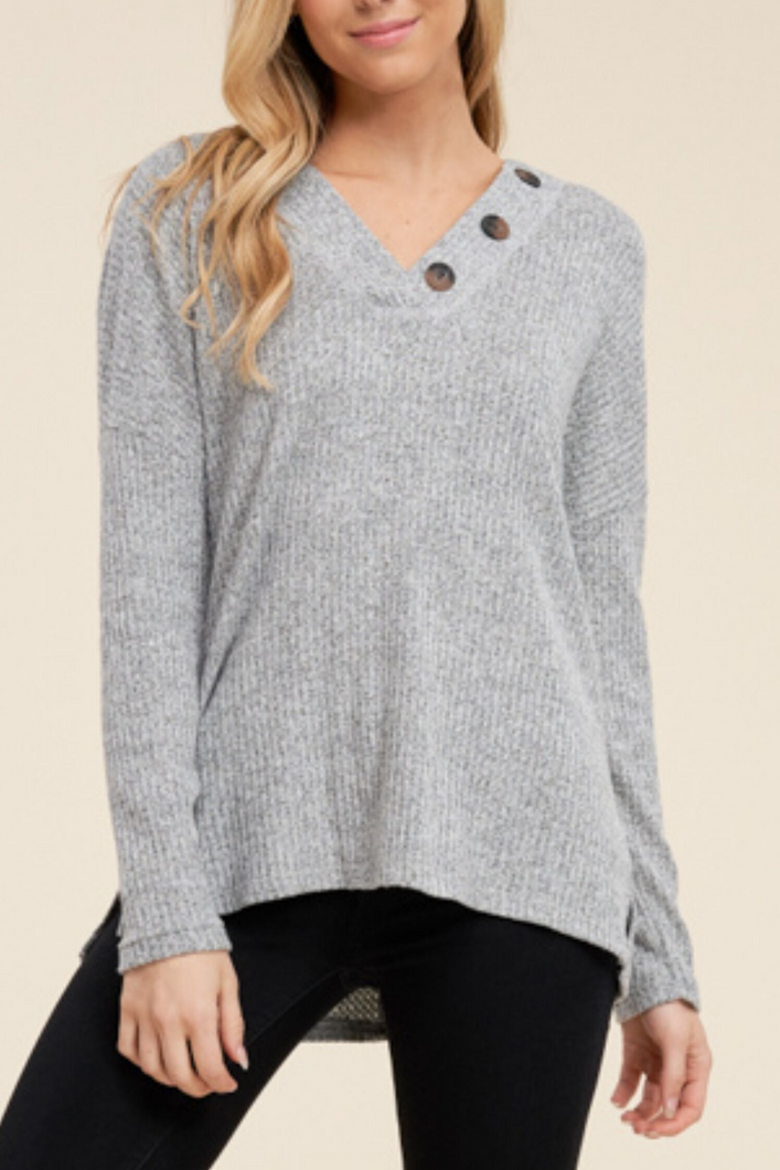 Sunday Morning Cuddles Waffle Knit Top (Heather Grey)