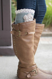 Shabby Chic Boot Cuffs  (Grey)
