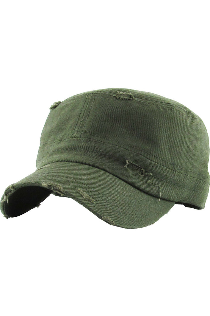 Reserved Distressed Cadet Hat (Olive)