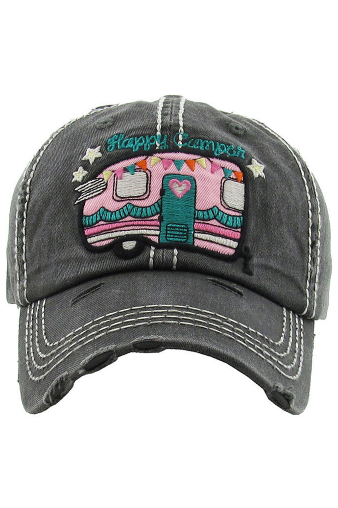 Happy Camper Distressed Baseball Cap