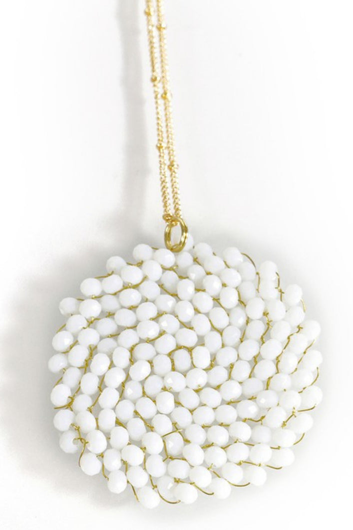 Center of Attention Beaded Necklace (Ivory)
