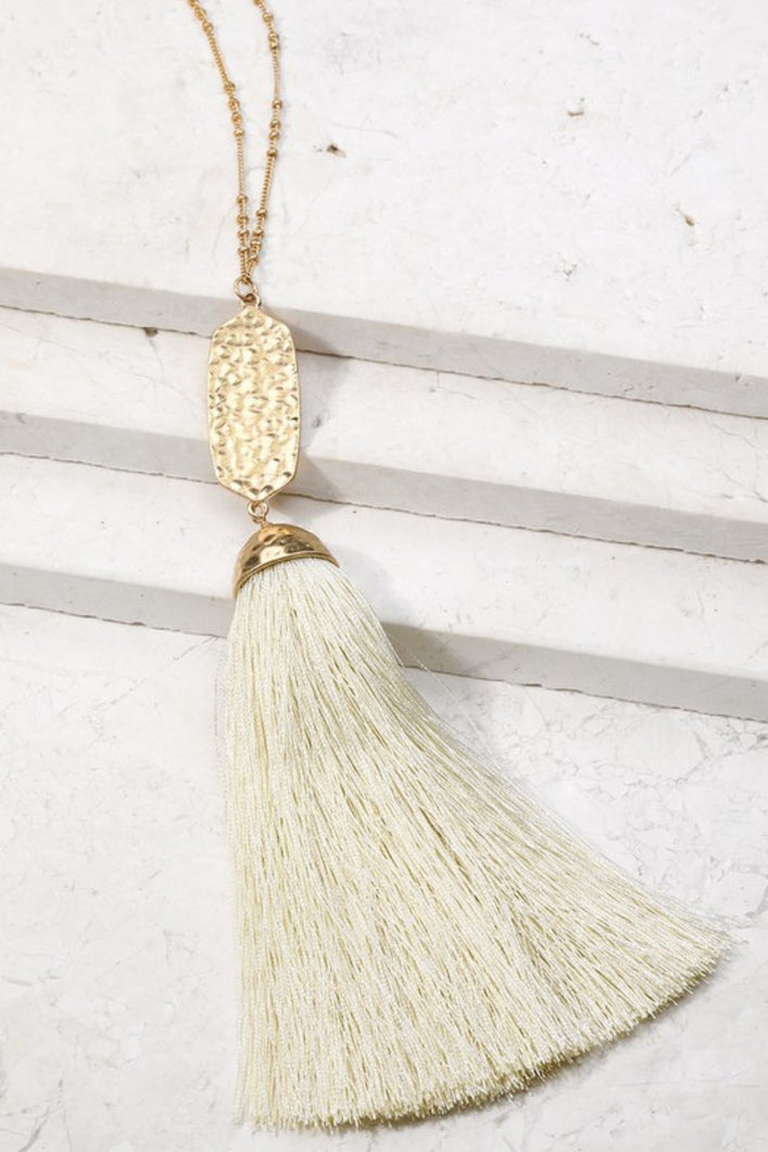 Not Worth the Tassel Necklace (Ivory)