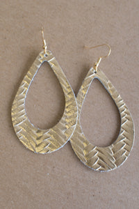 Cut It Out Leather Earrings (Gold)