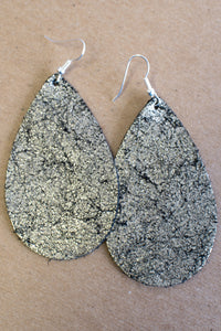 Platinum Crackle Leather Earrings