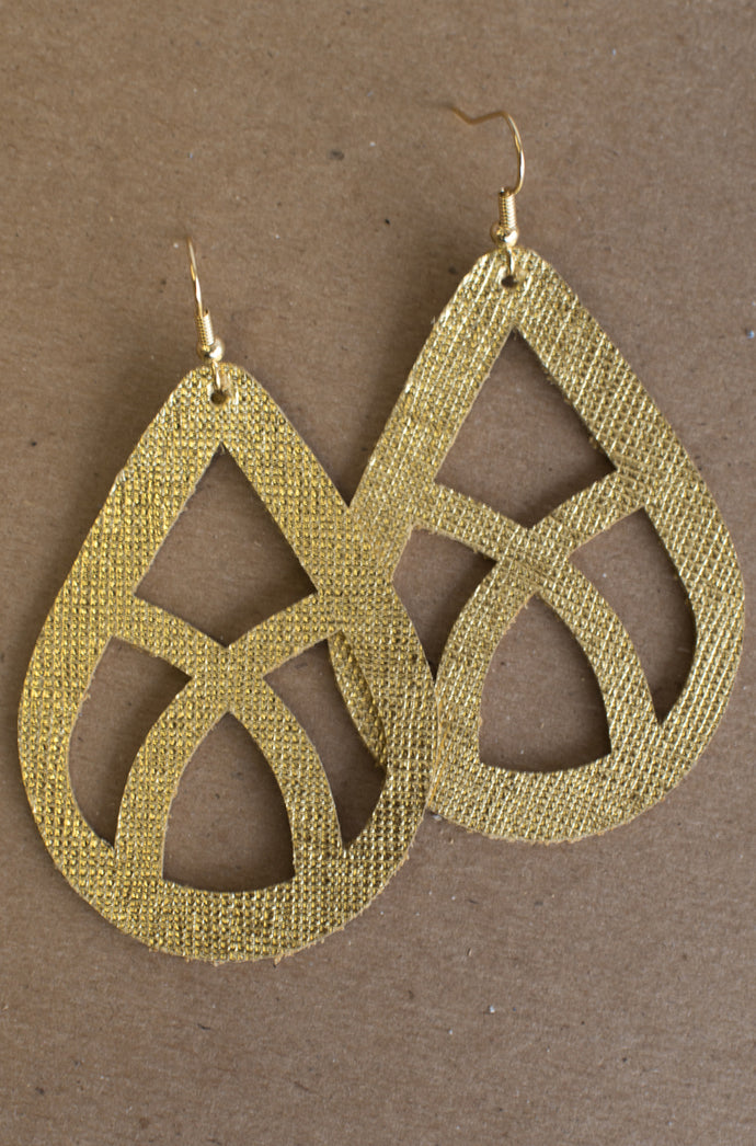 Whispering Willow Leather Earrings (Gold)