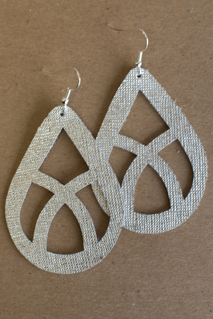Whispering Willow Leather Earrings (Silver)