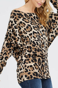 Huntress Games Leopard Print Off the Shoulder Top