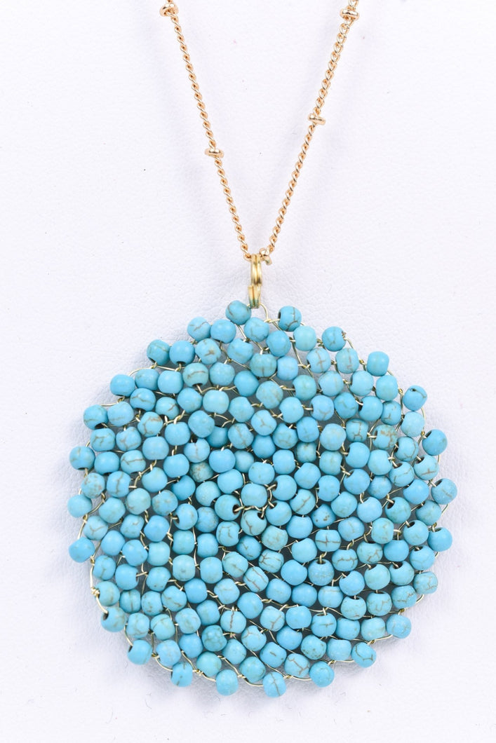 Center of Attention Beaded Necklace (Turquoise)