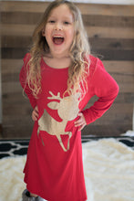 Load image into Gallery viewer, Children's The Red-Nosed Reindeer Tunic Dress (Red)
