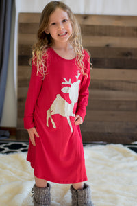 Children's The Red-Nosed Reindeer Tunic Dress (Red)