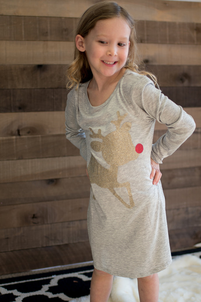 Children's The Red-Nosed Reindeer Tunic Dress (Grey)