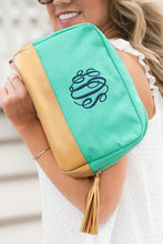Load image into Gallery viewer, Cabana Cosmetic Bag (Mint)