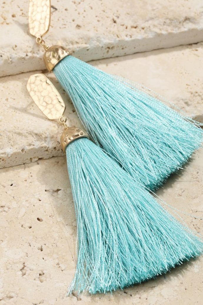 Not Worth the Tassel Earrings (Mint)