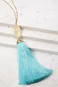 Not Worth the Tassel Necklace (Mint)