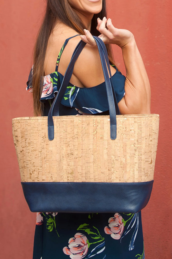 Driftwood Purse (Navy & Cork)