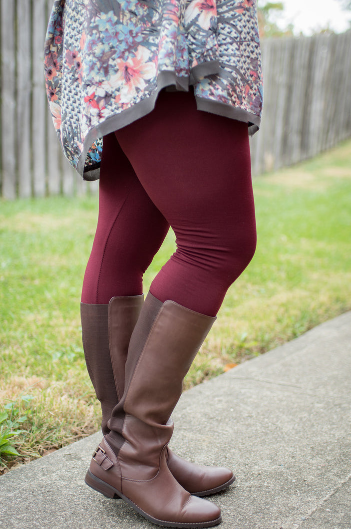 Amazing Fleece Lined Leggings (Curvy-Burgandy)
