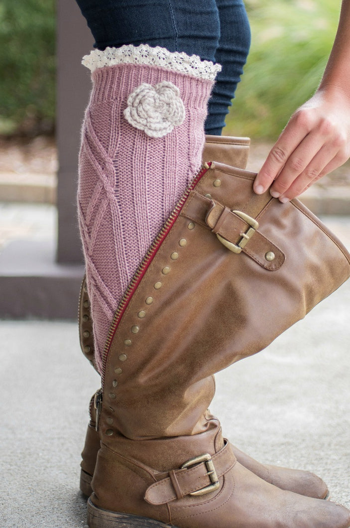 Shabby Chic Boot Cuffs (Rose)
