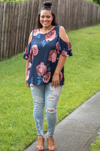 Load image into Gallery viewer, Cold Shoulder Floral Top