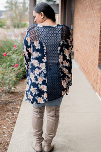 Lace Up Top (Navy)