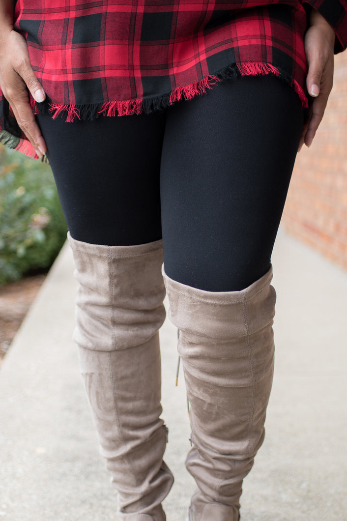 Amazing Fleece Lined Leggings (Curvy-Black)