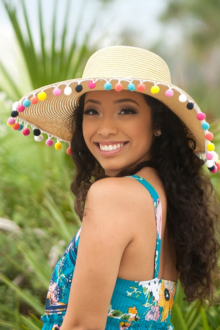Sprinkle Joy Pom Pom Beach Hat
