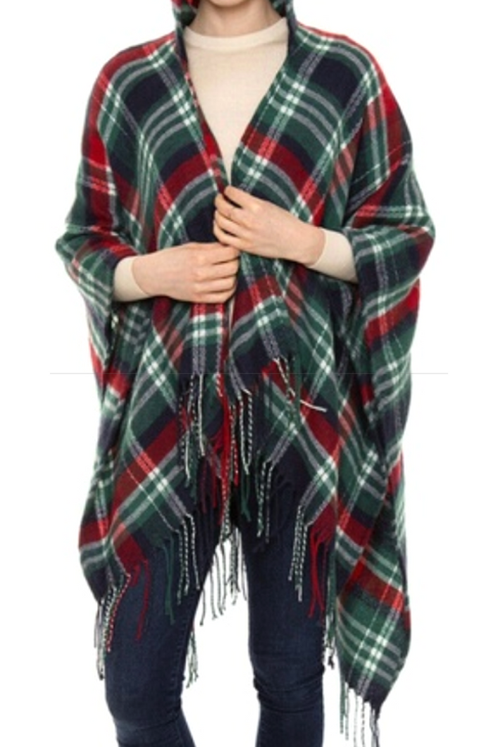 To the Pub Tartan Plaid Hooded Shawl