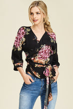 Load image into Gallery viewer, Flirty Floral Wrap Top