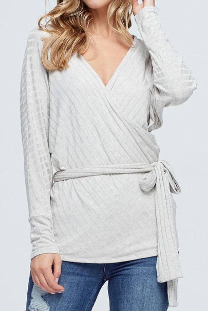 White Stripe Affair Top (Oatmeal)