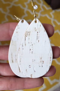 Cork & Leather Earrings (White)