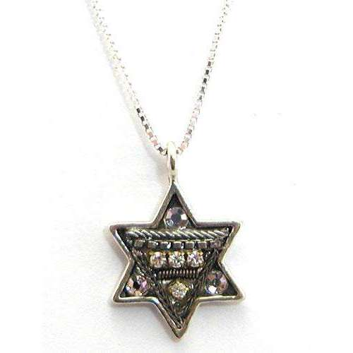 Adaya Bright Silver Crystal and Beaded Star of David Necklace