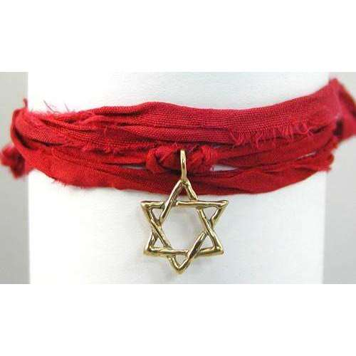 Amery Carriere Red Sari Wrap Bracelet with Brass Star of David Charm