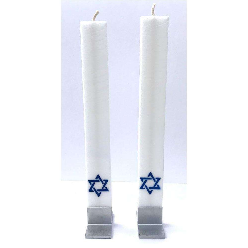 Austrian Atelier White Shabbat Candlesticks With Refill