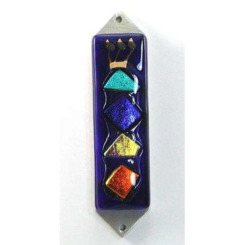 Beames Designs Blue Mezuzah With Multi-Colored Dichroic Glass