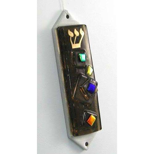 Beames Designs Bronze Mezuzah With Multi-Colored Dichroic Glass