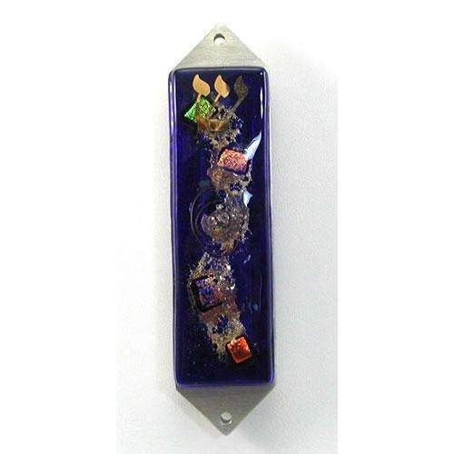 Beames Designs Celestial Blue Dichroic Glass Mezuzah