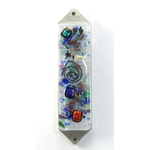 Beames Designs Celestial White Frosted Dichroic Glass Mezuzah