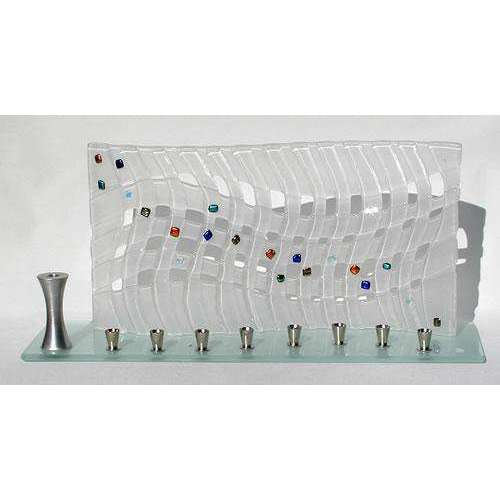 Beames Designs Elegant Frosted Wave Glass Menorah