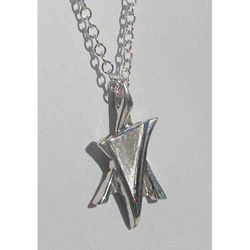 Blue Leaf Modern Silver Star of David Necklace