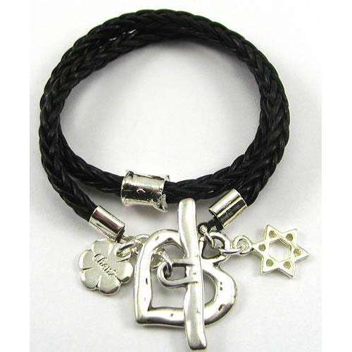Chen Z Black Leather Bracelet With Heart and Star of David