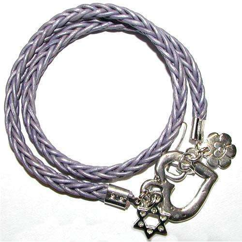 Chen Z Lavender Leather Bracelet With Heart and Star of David