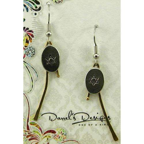 Darrel's Designs Oval Star of David Earrings on Brass Branches