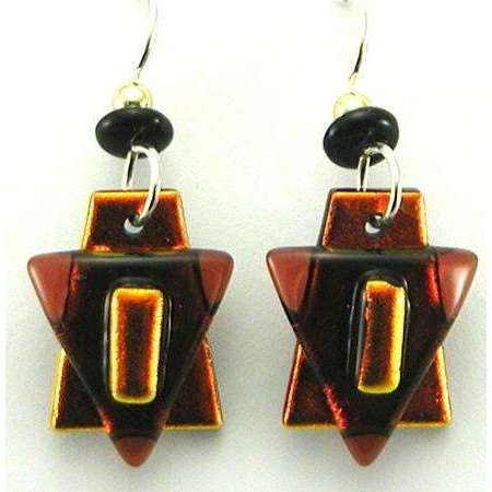 DeVeer Designs Rich Iridescent Copper Star of David Earrings