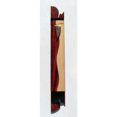 Ed Cohen Light and Dark Wooden Curve Mezuzah