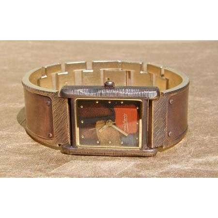 Eduardo Milieris Cloister Watch: Copper Trim on Wide Metal Band