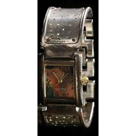 Eduardo Milieris Florence Watch: Silver Perforated Trim on Wide Band