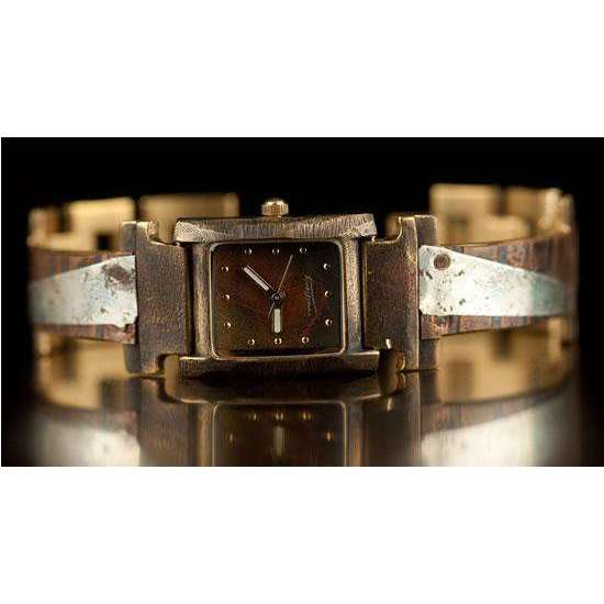 Eduardo Milieris Florence Watch: Silver Triangles With Concrete Engraving on Narrow Copper Band