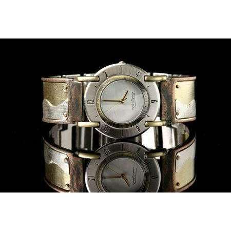 Eduardo Milieris Full Moon Art Watch: Brass & Silver Wave Design on Wide Band