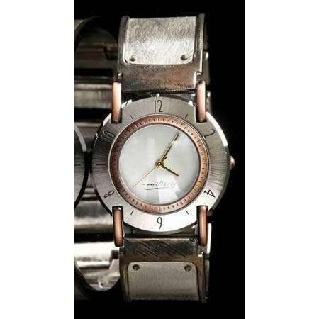 Eduardo Milieris Full Moon Art Watch: Large Silver Brushed Trim on Wide Band